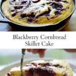 Blackberry Cornbread Skillet Recipe in a cast-iron Skillet