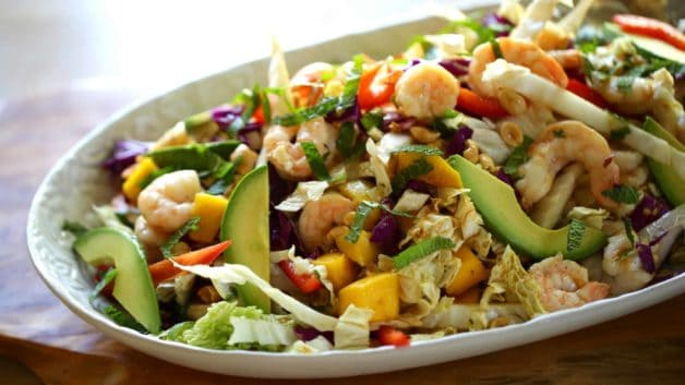 Platter of shrimp, avocado and mango salad