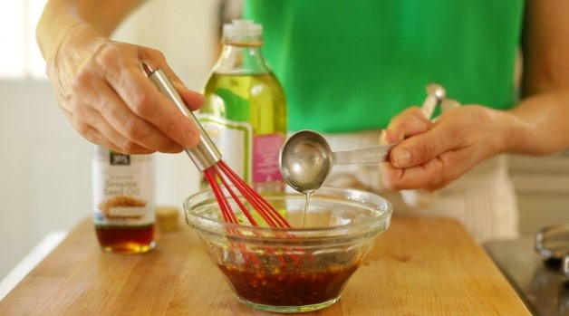 Adding oils to Salad Dressing Mixture