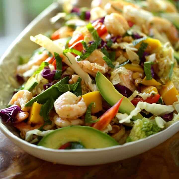 Shrimp Salad with Avocado and Mango and Mint on a platter