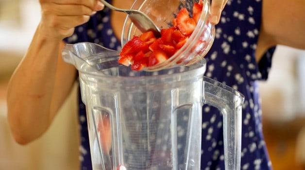 Strawberries placed in blender