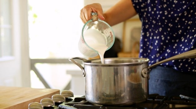 cream and milk mixture poured into pot