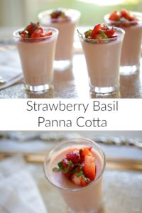 Strawberry Panna Cotta with Basil on a silver tray