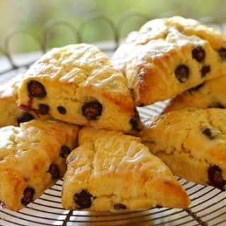 Lemon Blueberry Scones with Lemon Glaze
