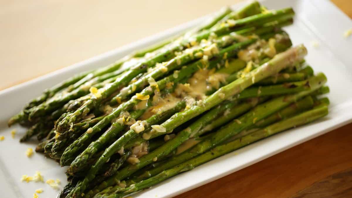 Chilled Asparagus Salad on Plate with Vinaigrette