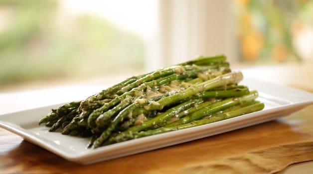 Charred Asparagus Salad Recipe on serving platter