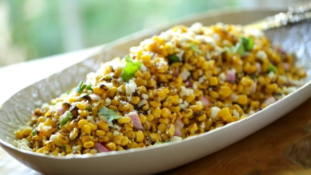 Charred Mexican Corn Salad Recipe in white serving platter