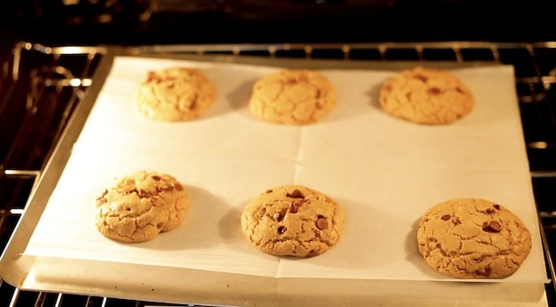 Browned butter chocolate chip cookies in the oven baking