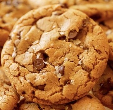 Close up of brown butter chocolate chip cookies