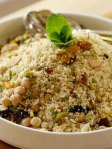 Couscous Salad on a white round dish