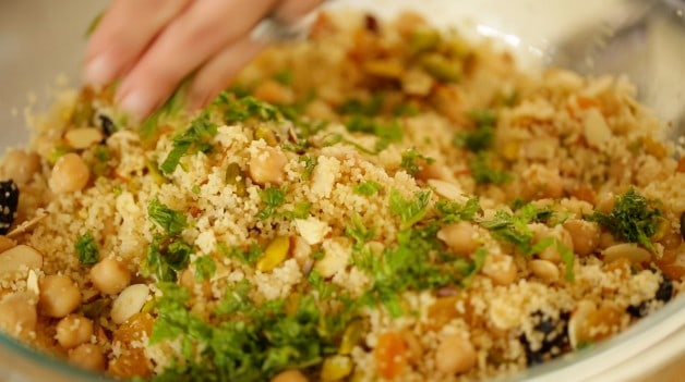 Couscous salad mixed together