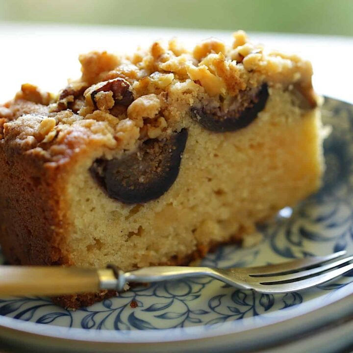 Fresh Fig Cake on a Plate with a Fork