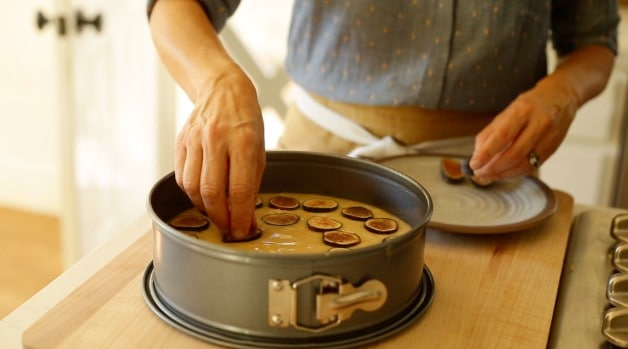 Figs placed on Fig Cake batter in cheesecake pan