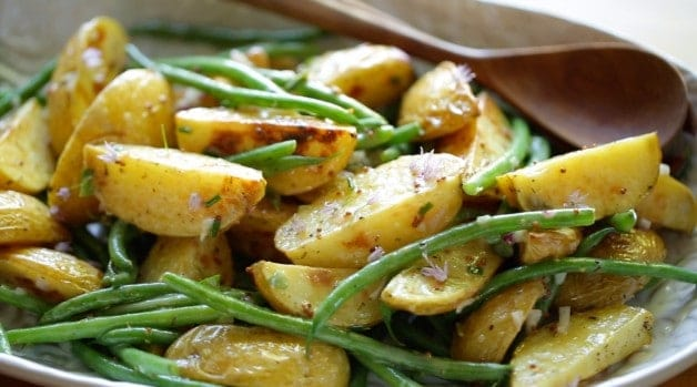 Close up detail of a No-Mayo Potato Salad Recipe