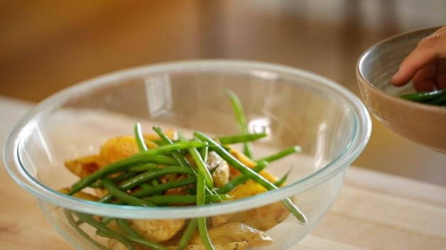 Green beans in bowl for No-Mayo Potato Salad Recipe