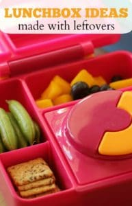 Pink kunchbox packed with a lunch made with leftovers