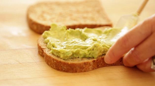 Avocado mixture on bread