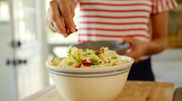 Traditional Potato Salad in white bowl