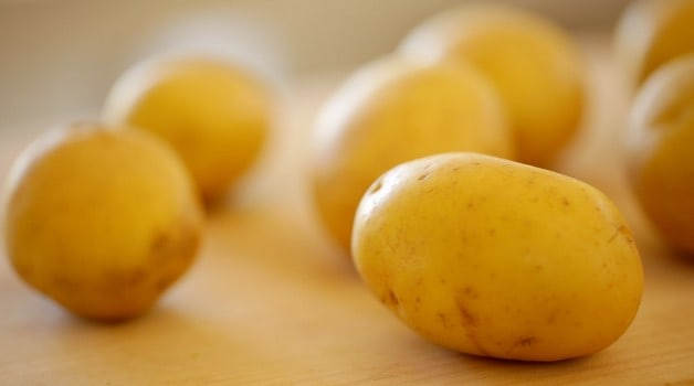 Golden Yukon Potatoes on cutting board