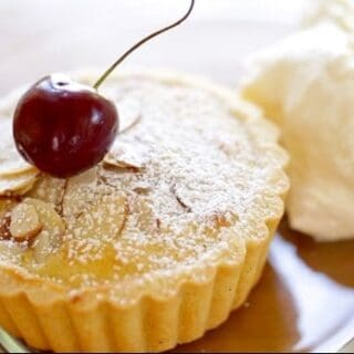 Cherry Bakewell Tart Recipe with cherry on top