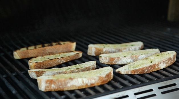 Grilling sliced ciabatta bread