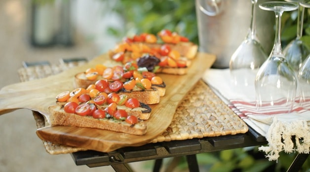 Cherry Tomato Bruschetta on cutting board