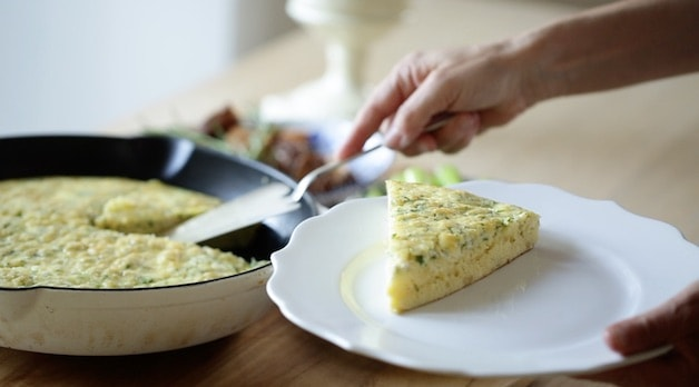 Serving a wedge of an egg bake on a plate for a collection of brunch recipes