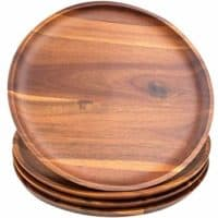 AIDEA Acacia Wood Food Serving Charger Plates - 11 inch Set of 4 Round Wooden Dishes Snack Plates