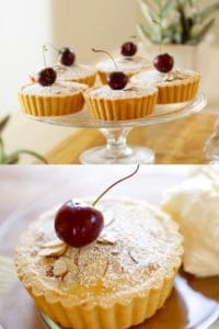 Collage of Cherry Bakewell Tarts