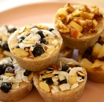 Frozen oatmeal cups prepared and on platter