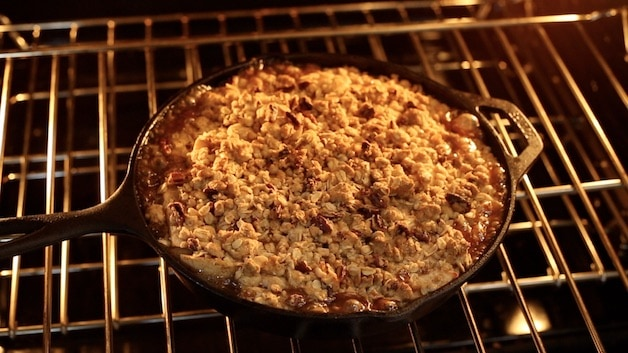 apple crisp bubbling in the oven