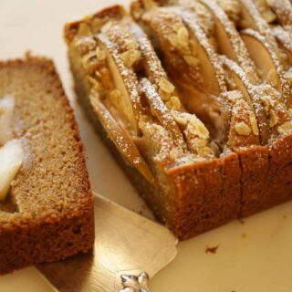 Fully baked spiced pear cake