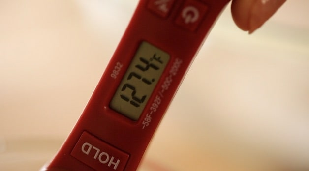 Meat thermometer showing 127 degrees