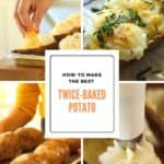 Process shot collage of a twice baked potato