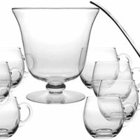 "Glass 10 Piece Punch Bowl Set - Includes - 1 Punch Bowl - 1 Ladle - 8 Punch Cups - By Barski - Punch Bowl is 10.25"" D - 210 oz - Ladle is 14"" L - Punch Cup is 12 oz. - Made in Europe"
