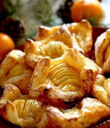 apple pastries on a terra cotta platter