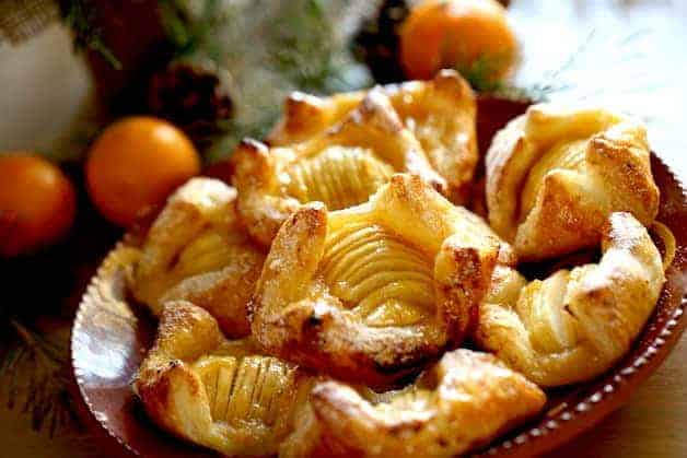 apple pastries on a terra cotta platter