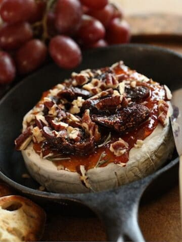 Baked Brie and Fig Jam in a Cast Iron Skillet