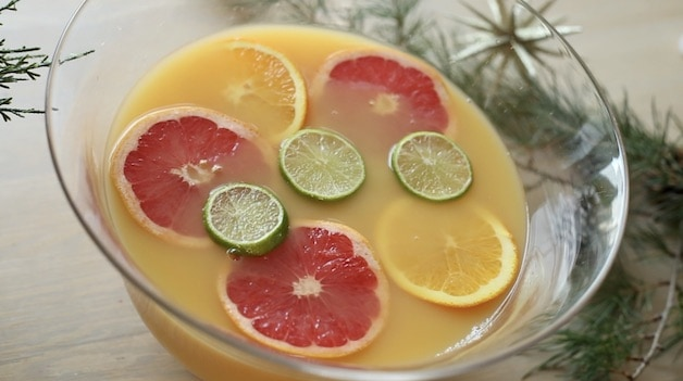 Orange, Grapefruit and Lime Wheels Floating in a Christmas Punch