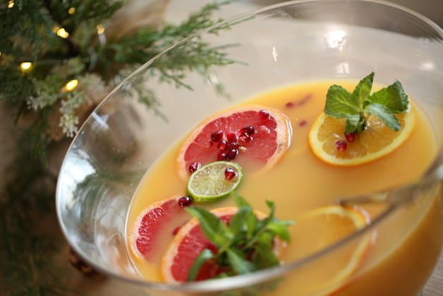 Christmas Morning Punch Recipe in a Glass punch bowl