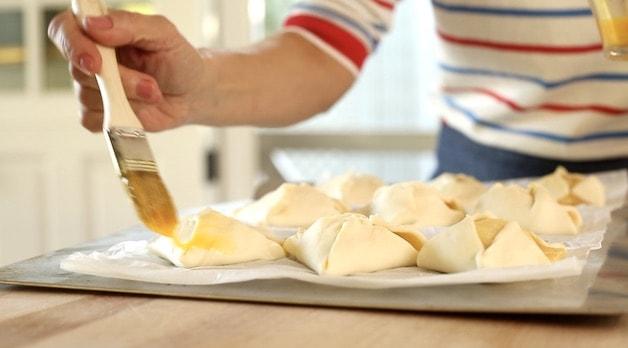 Brushing Egg Wash on Puff Pastry