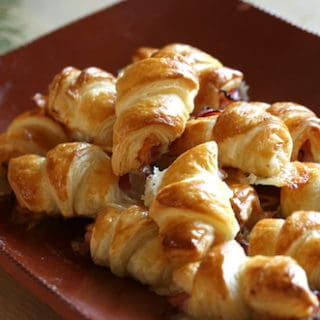 Platter of mini Ham and Cheese Croissants