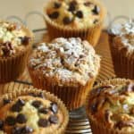 a selection of banana muffins with walnuts, chocolate chips and crumb topping