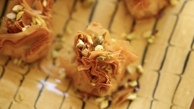 Baklava Bite with Pistachios on top