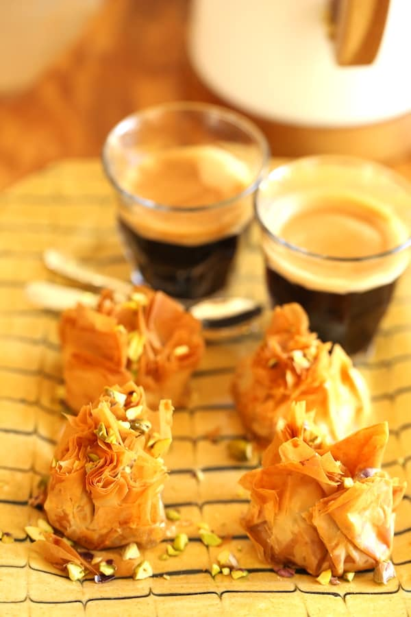 Air Fryer Baklava Bikes on a platter with Coffee