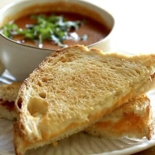 Air Fryer Grilled Cheese Sandwich with Tomato Soup