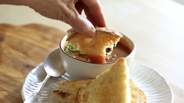 Air Fryer Grilled Cheese Dipped in Tomato Soup