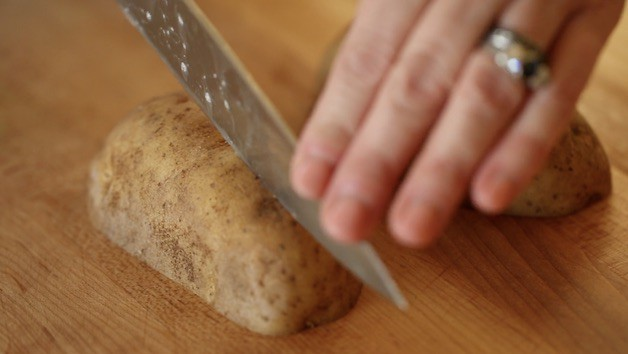 Slicing Potato in Quarters