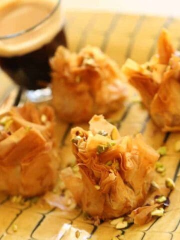 Air Fryer Baklava on a plate with coffee