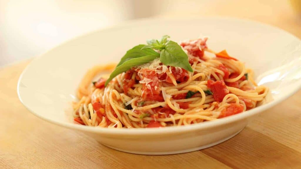 A plate of pasta with homemade tomato sauce